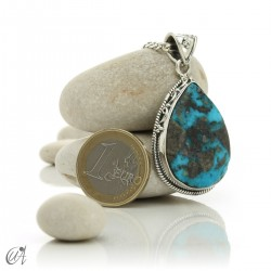 Gothic turquoise pendant with sterling silver. model 1