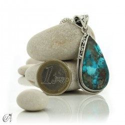 Gothic turquoise pendant with sterling silver. model 2