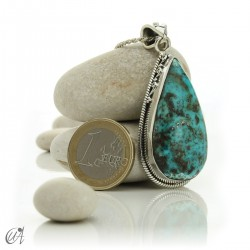 Gothic turquoise pendant with sterling silver. model 3
