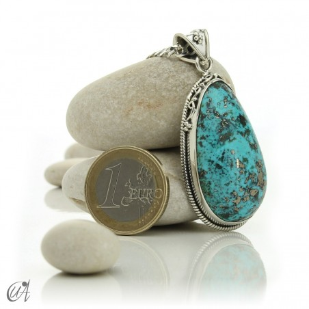 Gothic turquoise pendant with sterling silver. model 4