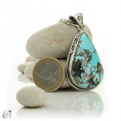Gothic turquoise pendant with sterling silver. model 5