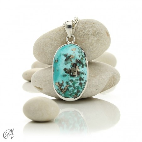 Turquoise oval - 925 silver pendant - model 1