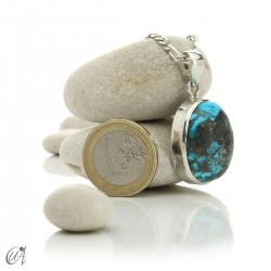 Turquoise oval - 925 silver pendant - model 2