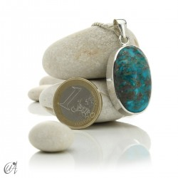 Turquoise oval - 925 silver pendant - model 3