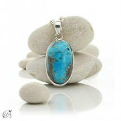 Turquoise oval - 925 silver pendant - model 4