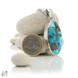 Turquoise oval - 925 silver pendant - model 5