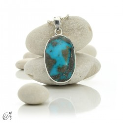 Turquoise oval - 925 silver pendant - model 6