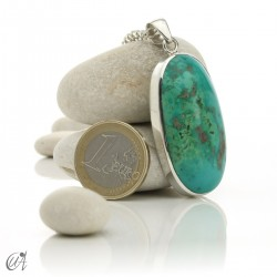 Turquoise oval - 925 silver pendant - model 7