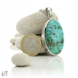 Turquoise oval - 925 silver pendant - model 8