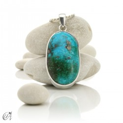 Turquoise oval - 925 silver pendant - model 9