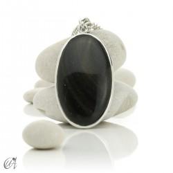 Gold obsidian in sterling silver, oval pendants