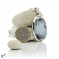 Oval pendant in 925 silver and dendritic opal, model 7