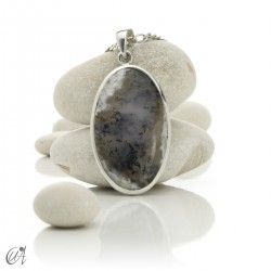 Oval pendant in 925 silver and dendritic opal, model 8