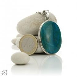 Chrysocolla pendant in sterling silver, oval - model 7