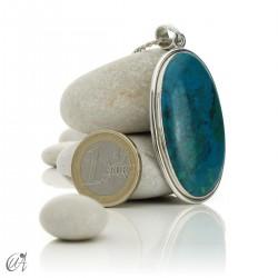 Chrysocolla pendant in sterling silver, oval - model 8