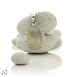 Gothic Oval Rutilated Quartz Pendant in Sterling Silver - model 6