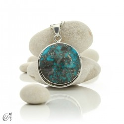 Natural turquoise pendant in 925 silver