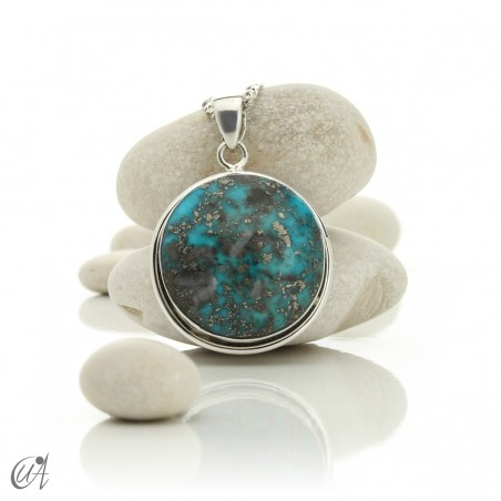 Natural turquoise pendant in 925 silver - model 4