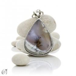 Teardrop pendant in sterling silver with dendritic opal