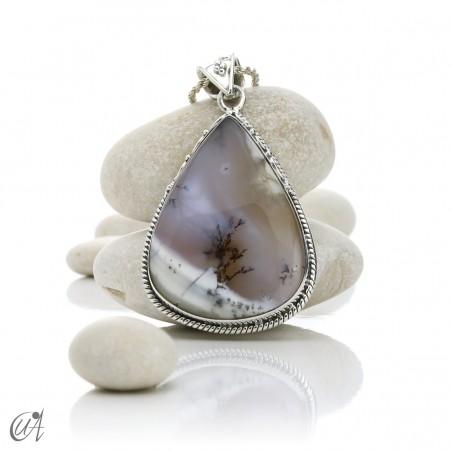 Teardrop pendant in sterling silver with dendritic opa, model 3