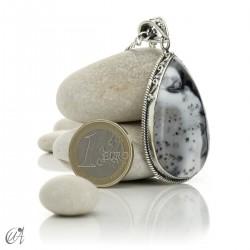Teardrop pendant in sterling silver with dendritic opa, model 4
