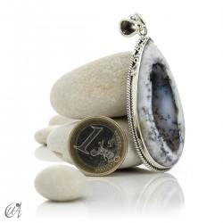 Teardrop pendant in sterling silver with dendritic opa, model 6