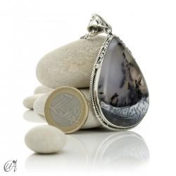 Teardrop pendant in sterling silver with dendritic opa, model 7