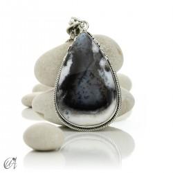 Teardrop pendant in sterling silver with dendritic opa, model 8