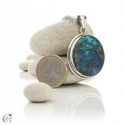 Azurite - Round silver pendant, model 1