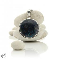 Azurite - Round silver pendant