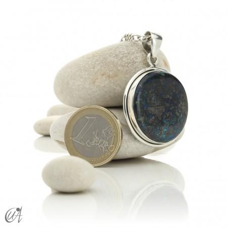 Azurite - Round silver pendant, model 2