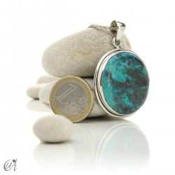 Azurite - Round silver pendant, model 3