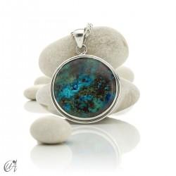 Azurite - Round silver pendant, model 4