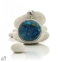 Azurite - Round silver pendant, model 5
