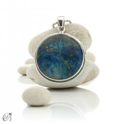 Azurite - Round silver pendant, model 6