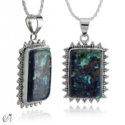Azurite and cuprite pendant in sterling silver - model 4