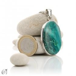 Azurite in sterling silver, oval pendants - model 1