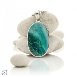 Azurite in sterling silver, oval pendants