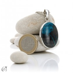 Azurite in sterling silver, oval pendants - model 3