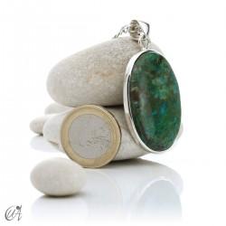 Azurite in sterling silver, oval pendants - model 4
