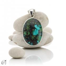 Azurite in sterling silver, oval pendants - model 5
