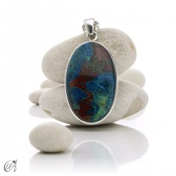 Azurite in sterling silver, oval pendants - model 7