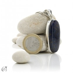 Azurite in sterling silver, oval pendants - model 8