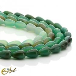 Pear cut green agate beads 12x8mm