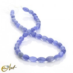 Violet blue agate, olive shaped faceted beads