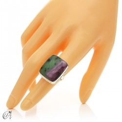 Rectangular silver ring with ruby, various models and sizes