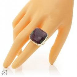 Rectangular silver ring with ruby size 18 model 2