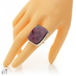 Rectangular silver ring with ruby size 20