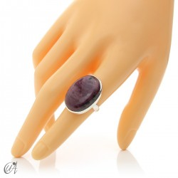 Ruby oval ring in silver, size 14 model 1