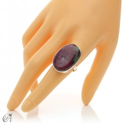 Ruby oval ring in silver, size 21